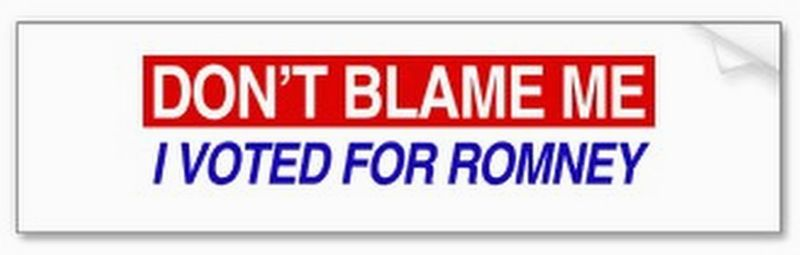 This bumper sticker shifting culpability away from Mitt Romney supporters now is for sale on CafePress, Zazzle, Amazon and other online sources. (Zazzle.com)
