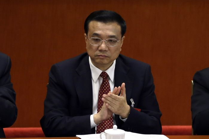 Chinese Vice Premier Li Keqiang attends the opening session of the 18th Communist Party Congress at the Great Hall of the People in Beijing on Nov. 8, 2012. (Associated Press)