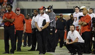 Maryland coach Randy Edsall, crouching, and his staff watch the closing minutes of the team's 45-10 loss to Clemson in an NCAA college football game Saturday, Nov. 10, 2012 at Memorial Stadium in Clemson, S.C. (AP Photo/Richard Shiro)
