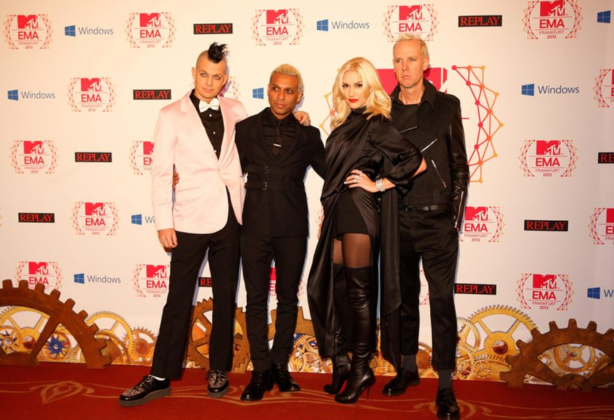 US band No Doubt arrive on the red carpet of the 2012 MTV European Music Awards show at the Festhalle in Frankfurt, central Germany, Sunday, Nov. 11, 2012. (AP Photo/Frank Augstein)