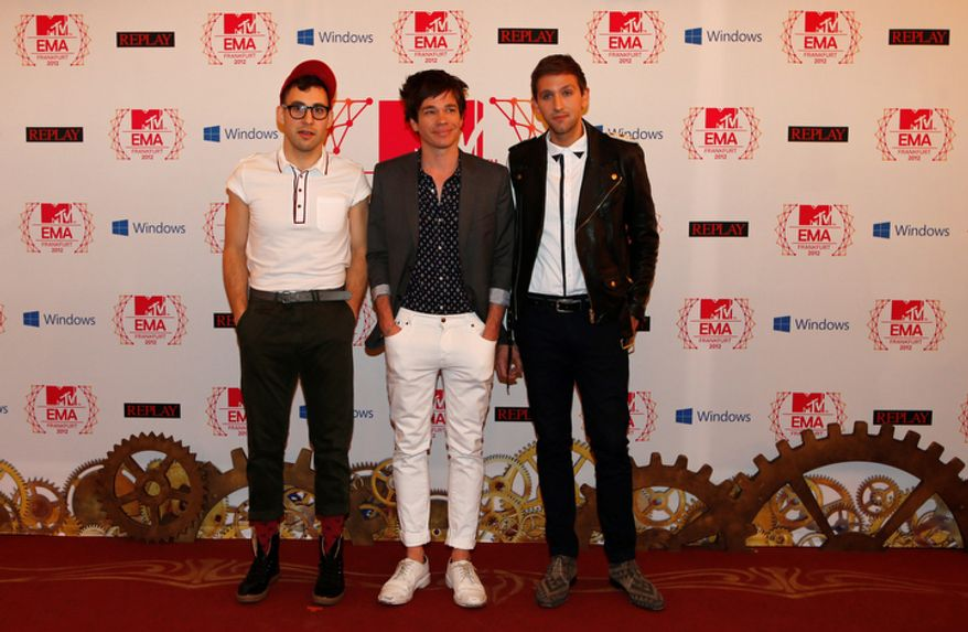 US band 'fun.' arrive on the red carpet of the 2012 MTV European Music Awards show at the Festhalle in Frankfurt, central Germany, Sunday, Nov. 11, 2012. (AP Photo/Frank Augstein)