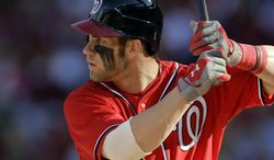 Washington Nationals outfielder Bryce Harper finished with a 4.9 Wins Above Replacement, according to FanGraphs. (Associated Press)