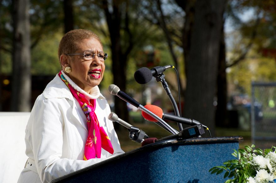 Congresswoman Eleanor Holmes-Norton says she is calling upon to president to require that the D.C. flag be flown at military functions where the flags of all 50 states are flown.  (Barbara L. Salisbury/The Washington Times)