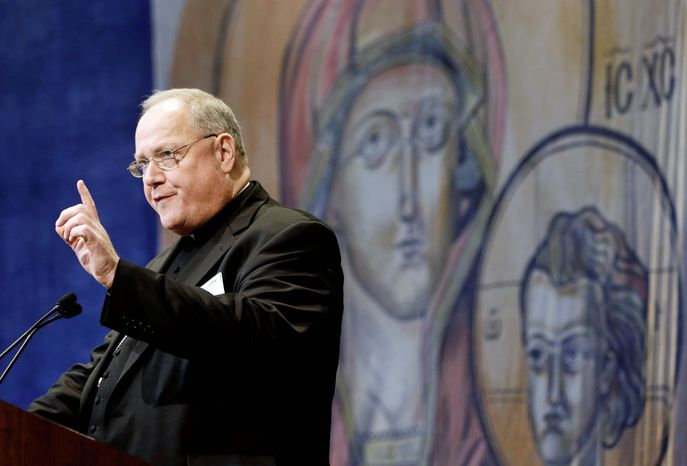 ** FILE ** Cardinal Timothy Dolan, of New York, president of the United States Conference of Catholic Bishops. (Associated Press)
