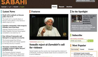 This image downloaded from the internet on Nov. 13, 2012, shows the main page of the sabahionline.com website, featuring an image made from video showing al Qaeda leader Ayman Al-Zawahri. At first glance it appears to be a sleek Horn of Africa news site, but in fact the website is run by the U.S. military as part of a propaganda operation aimed at countering extremists in Africa. (Associated Press/Internet)