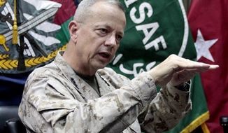 ** FILE ** This July 22, 2012, file photo shows U.S. Gen. John Allen, top commander of the NATO-led International Security Assistance Forces (ISAF) and U.S. forces in Afghanistan, during an interview with The Associated Press in Kabul, Afghanistan. (AP Photo/Musadeq Sadeq, File)