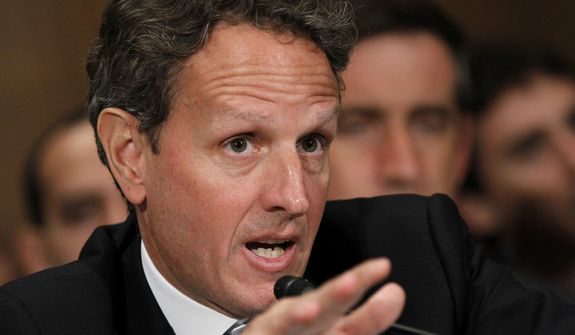 **FILE** Treasury Secretary Timothy Geithner testifies July 26, 2012, on Capitol Hill in Washington before the Senate Banking Committee. (Associated Press)
