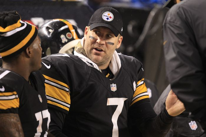 Pittsburgh Steelers quarterback Ben Roethlisberger (7) talks with Pittsburgh Steelers wide receiver Mike Wallace (17) on the bench during an NFL football game against the Kansas City Chiefs in Pittsburgh, Monday, Nov. 12, 2012. The Steelers won 16-13 in overtime. (AP Photo/Gene J. Puskar)