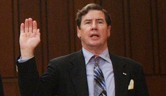 Former CIA Inspector General Frederick Hitz, shown testifying on Capitol Hill on Oct, 3, 2002. (Associated Press)