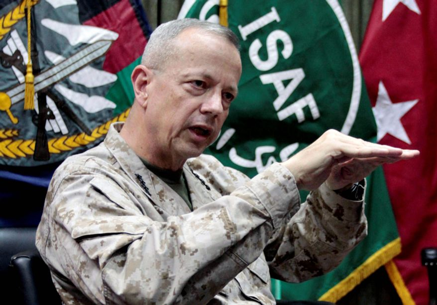 **FILE** U.S. Gen. John Allen, top commander of the NATO-led International Security Assistance Forces (ISAF) and U.S. forces in Afghanistan, speaks July 22, 2012, during an interview with The Associated Press in Kabul, Afghanistan. (Associated Press)