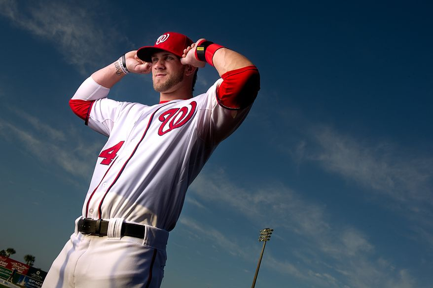 Washington Nationals right fielder Bryce Harper (34) poses for a portrait during photo day at spring training, Viera, Fla., Tuesday, February 28, 2012. (Andrew Harnik/The Washington Times)