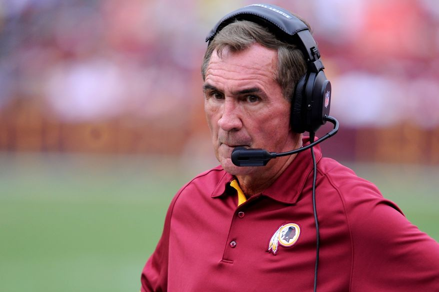 Washington Redskins head coach Mike Shanahan on the sidelines at FedEx Field, Landover, Md. Aug. 25, 2012. (Preston Keres/Special to The Washington Times)
