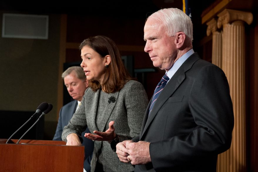 U.S. Sens. John McCain, Arizona Republican, right; Lindsey Graham, South Carolina Republican, left; and Kelly Ayotte, New Hampshire Republican, center, call for a Senate Armed Services Committee Hearing on the Benghazi attack during a press conference at the U.S. Capitol Building, Washington, D.C., Wednesday, Nov. 14, 2012. (Andrew Harnik/The Washington Times)