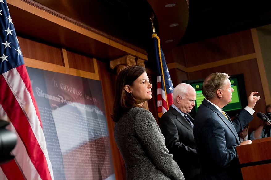 Sens. John McCain (R-Ariz.), center, Lindsey Graham (R-S.C.), right,  and Kelly Ayotte (R-N.H.), left, hold a press conference at the U.S. Capitol Building calling for a Senate Armed Services Committee Hearing on the Benghazi attack, Washington, D.C., Wednesday, November 14, 2012. (Andrew Harnik/The Washington Times)