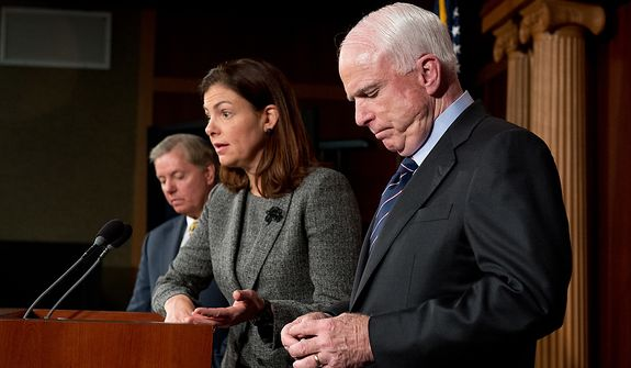 U.S. Senators John McCain (R-Ariz.), right, Lindsey Graham (R-S.C.), left,  and Kelly Ayotte (R-N.H.), center, hold a press conference at the U.S. Capitol Building calling for a Senate Armed Services Committee Hearing on the Benghazi attack, Washington, D.C., Wednesday, November 14, 2012. (Andrew Harnik/The Washington Times)