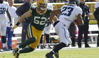 Green Bay Packers outside linebacker Clay Matthews chases down Jacksonville Jaguars running back Rashad Jennings during the first half of an NFL football game Sunday, Oct. 28, 2012, in Green Bay, Wis. (AP Photo/Mike Roemer)