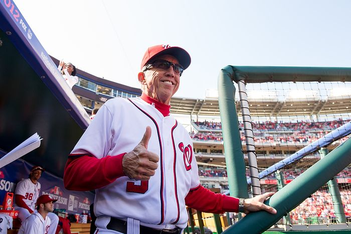 Washington Nationals manager Davey Johnson gives a thumbs up as he is announced onto the field during opening ceremonies of Game 3 of the National League Division Series between the Nationals and St. Louis Cardinals at Nationals Park in Washington on Oct. 10, 2012. (Andrew Harnik/The Washington Times)