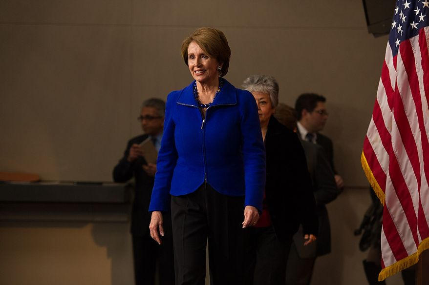 House Minority Leader Nancy Pelosi (D-Calif.) arrives to a press conference to announces that she will stay on as House minority leader at the U.S. Capitol Building, Washington, D.C., Wednesday, November 14, 2012. (Andrew Harnik/The Washington Times)