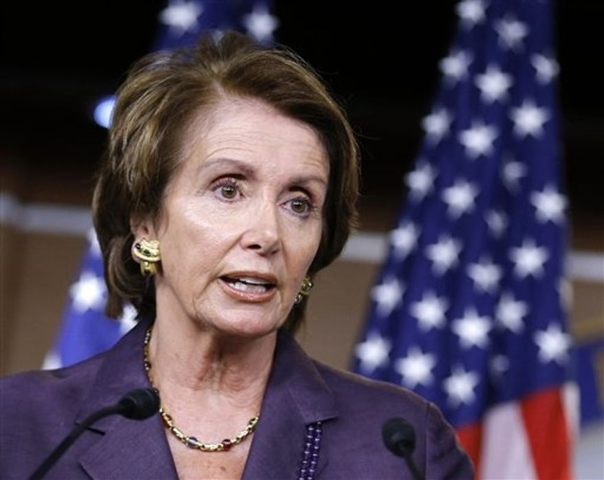 ** FILE ** In this Sept. 13, 2012, file photo, House Minority Leader Nancy Pelosi of California speaks during a news conference on Capitol Hill in Washington. (AP Photo/J. Scott Applewhite, File)