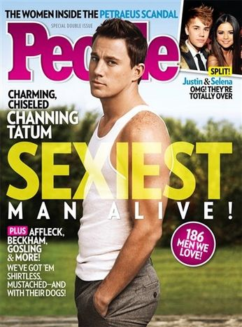 This magazine cover image released Wednesday, Nov. 14, 2012, by People shows actor Channing Tatum on the cover of People's Sexiest Man Alive