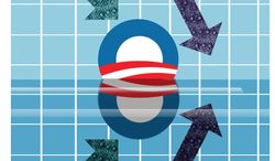 Illustration Obama's Parallel Economic Universe by Alexander Hunter for The Washington Times