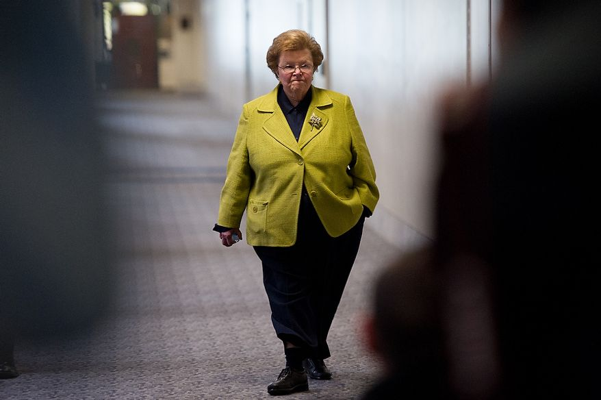 Senator Barbara Mikulski (D-Md.) arrives for a closed door Senate Select Committee on Intelligence hearing to discuss the September 11, 2012 attack on the U.S. Consulate in Benghazi, Libya, and the intelligence and security situation in other Arab Spring countries at the Hart Senate Office Building, Washington, D.C., Thursday, November 15, 2012. (Andrew Harnik/The Washington Times)