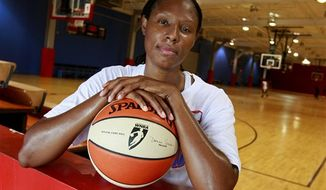 ** FILE ** This May 15, 2009 photo shows former Atlanta Dream forward Chamique Holdsclaw posing for a portrait after a basketball workout in Jonesboro, Ga. (AP Photo/John Bazemore, File)
