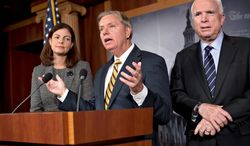 **FILE** Sen. John McCain (right) of Arizona, the ranking Republican on the Senate Armed Services Committee, and fellow committee member Sen. Kelly Ayotte (left), New Hampshire Republican, listen as Sen. Lindsey Graham, South Carolina Republican, speaks during a news conference on Capitol Hill in Washington on Nov. 14, 2012. (Associated Press)