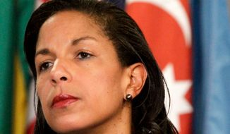 **FILE** Susan Rice, U.S. Ambassador to the United Nations, listens June 7, 2012, during a news conference at the U.N. (Associated Press)