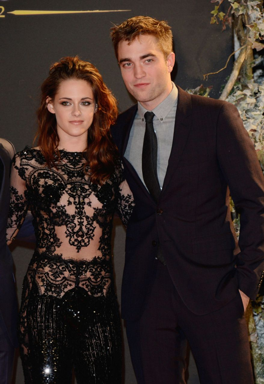 Actors Kristen Stewart and Robert Pattinson are seen at The Twilight Saga: Breaking Dawn Part 2: European Premiere: Inside Arrivals at The Odeon Leicester Square on Wednesday Nov. 14, 2012 in London. (Photo by Jon Furniss/Invision/AP)