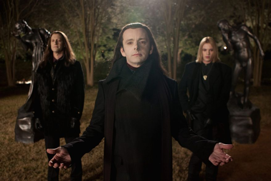 """This film image released by Summit Entertainment shows Christopher Heyerdahl, left, Michael Sheen, center, and Jamie Campbell Bower in a scene from """"The Twilight Saga: Breaking Dawn Part 2."""" (AP Photo/Summit Entertainment, Andrew Cooper)"""