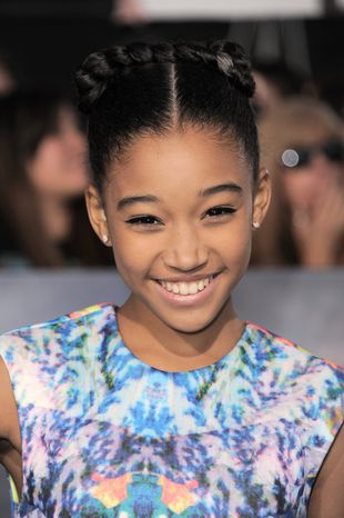 "Amandla Stenberg attends the world premiere of ""The Twilight Saga: Breaking Dawn Part 2"" at the Nokia Theatre on Monday, Nov. 12, 2012, in Los Angeles. (Photo by Jordan Strauss/Invision/AP)"