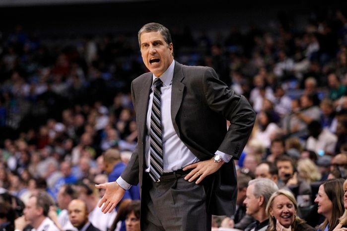 Washington Wizards head coach Randy Wittman shouts at an official after a call in the first half of an NBA basketball game against the Dallas Mavericks  Wednesday, Nov. 14, 2012, in Dallas. (AP Photo/