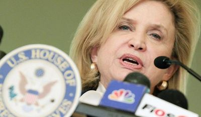 ** FILE ** Rep. Carolyn B. Maloney, New York Democrat, said Wednesday the Obama administration should promote contraception as a human right, domestically and throughout the world. (Associated Press)