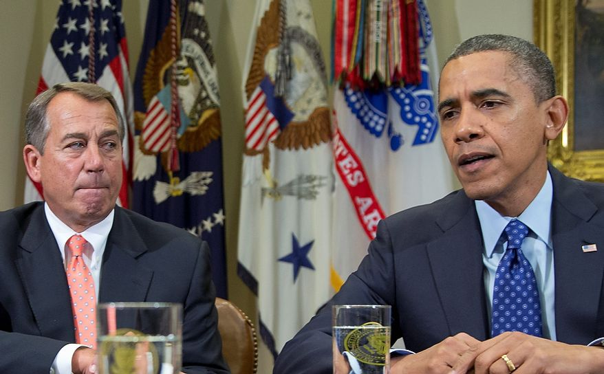 President Barack Obama, accompanied by House Speaker John Boehner of Ohio, speaks to reporters in the Roosevelt Room of the White House in Washington, Friday, Nov. 16, 2012, as he hosted a meeting of the bipartisan, bicameral leadership of Congress to discuss the deficit and economy in Washington.  (AP Photo/Carolyn Kaster)