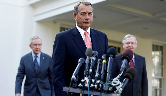 House Speaker John Boehner of Ohio, center, followed by Senate Majority Leader Harry Reid of Nev., left, and Senate Minority Leader Mitch McConnell of Ky., approaches the microphones outside the White House in Washington on Friday, Nov. 16, 2012, to speaks to reporters following their meeting with President Barack Obama to discuss the economy and the deficit.  (AP Photo/Jacquelyn Martin)