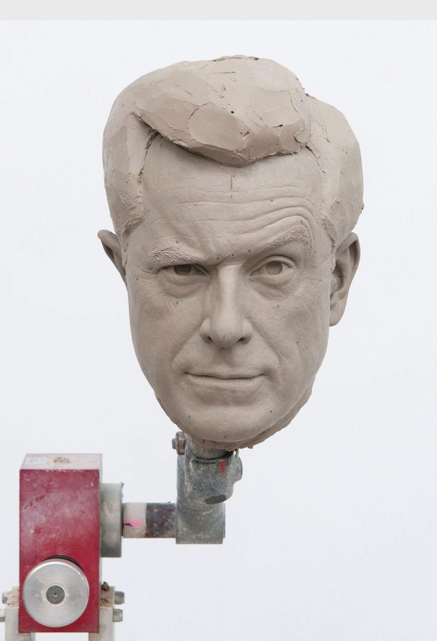 Sculpted clay-head mold of Comedy Central host, Stephen Colbert, in photo unveiled by Madame Tussauds Washington, D.C. on Nov. 12, 2012, to announce the creation of his wax figure. Colbert will visit the attraction on Friday, Nov. 16, 2012, to help unveil his incredibly lifelike wax figure. (PRNewsFoto/Madame Tussauds Washington D.C.)