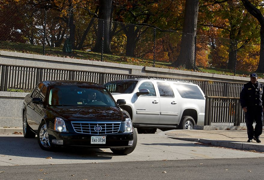 The motorcade with Gen. David Petraeus leaves the U.S. Capitol on Friday, Nov. 16, 2012 following the general's closed-door testimony about the Benghazi attacks. The general was expected to say that he knew the attack was terror-based from the beginning. (Barbara L. Salisbury/The Washington Times)