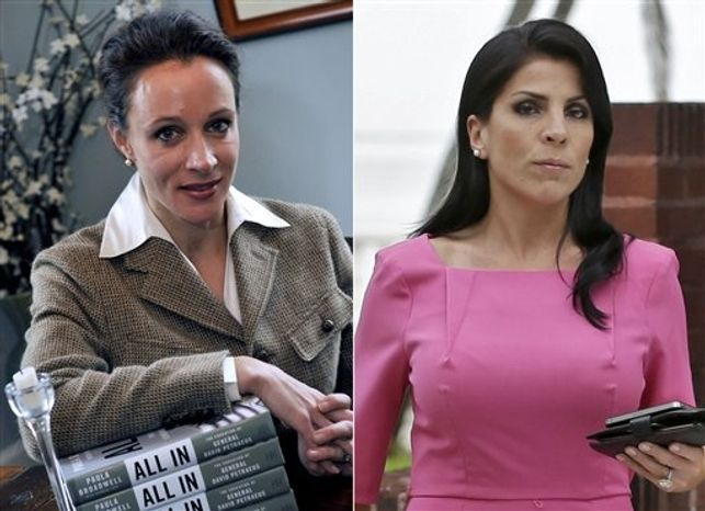 This combo made from file photos shows Gen. David Petraeus' biographer and paramour Paula Broadwell, left, and Florida socialite Jill Kelley. Broadwell and Kelley, the two women at the center of David Petraeus' downfall as CIA director, visited the White House separately on various occasions in what appear to be unrelated calls that did not result in meetings with President