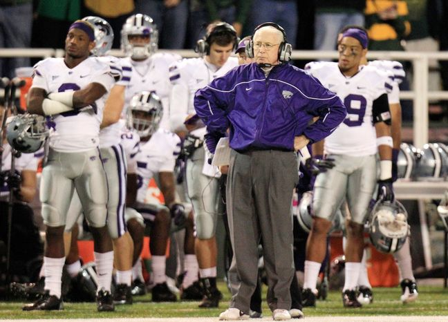 Kansas State coach Bill Snyder watched as his Wildcats absorbed a 52-24 pounding from Baylor on Saturday night. (Associated Press)