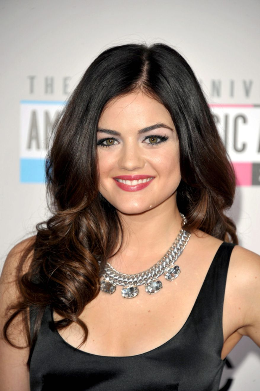 Lucy Hale arrives at the 40th Anniversary American Music Awards on Sunday, Nov. 18, 2012, in Los Angeles. (Photo by John Shearer/Invision/AP)
