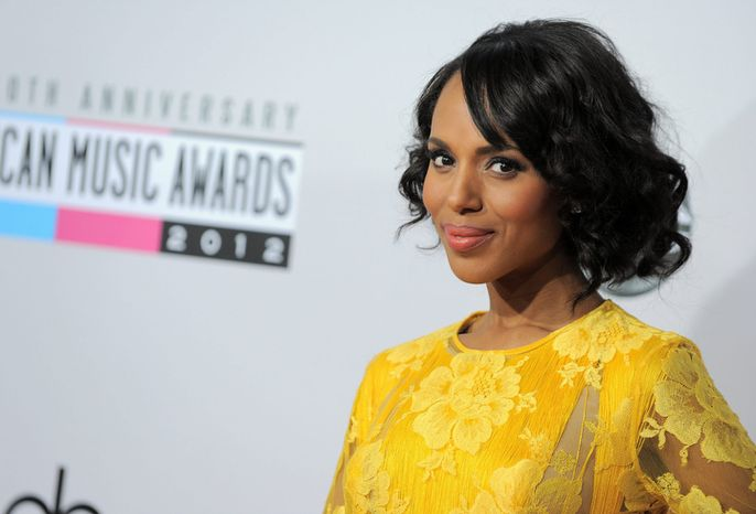 ** FILE ** Kerry Washington arrives at the 40th Anniversary American Music Awards on Sunday, Nov. 18, 2012, in Los Angeles. (Photo by Jordan Straus