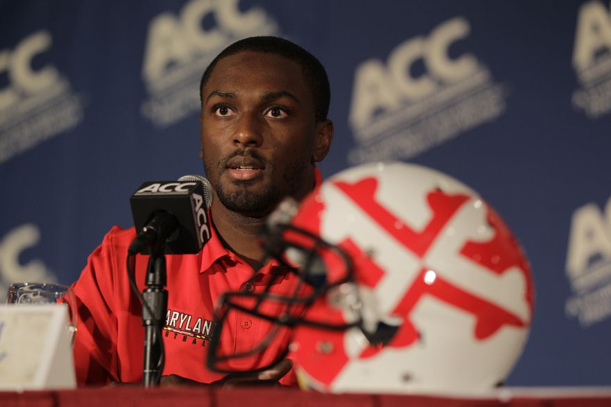 Maryland's Kevin Dorsey speaks to the media during an Atlantic Coast Conference college football kickoff news conference in Greensboro, N.C., Sunday, July 22, 2012. (AP Photo/Chuck Burton)