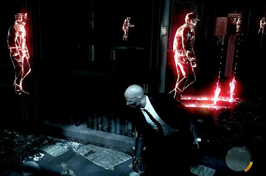 A player uses Instinct to help Agent 47 escape in the violent video game Hitman: Absolution.