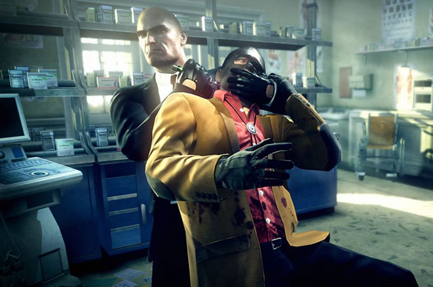 Agent 47 has many ways to take donw foes in the video game Hitman: Absolution.