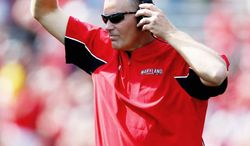 FILE - This Sept. 15, 2012 file photo shows Maryland head coach Randy Edsall reacts after his team scored a touchdown in the second half of an NCAA college football game against Connecticut in College Park, Md. Maryland is set to announce it is joining the Big Ten. The Big Ten Network tweeted that it will cover the school's news conference Monday afternoon, Nov. 19, 2012, to announce Maryland's decision to leave the Atlantic Coast Conference. (AP Photo/Patrick Semansky, File)