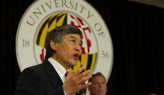 University of Maryland President Wallace D. Loh offers remarks during a press conference to announce the University of Maryland's joining the Big Ten Conference, at the University of Maryland in College Park, Md., Monday, Nov. 19, 2012. (Rod Lamkey Jr./The Washington Times) ** FILE **