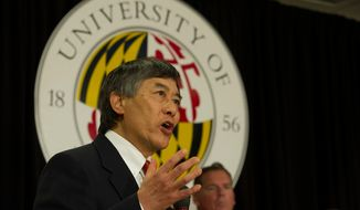 University of Maryland  President Wallace D. Loh offers remarks during a press conference to announce the University of Maryland's joining the Big Ten Conference, at the University of Maryland in College Park, Md., Monday, Nov. 19, 2012. (Rod Lamkey Jr./The Washington Times)