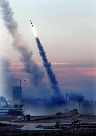 The Iron Dome protects the port town of Ashdod. The Israeli Defense Force said the system has intercepted at least 359 of the more than 1,000 rockets since attacks began Nov. 14. (Associated Press)