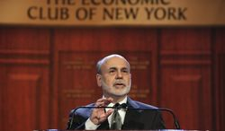 Federal Reserve Chairman Ben Bernanke addresses a luncheon gathering of the Economic Club of New York on Nov. 20, 2012, in New York. (Associated Press)